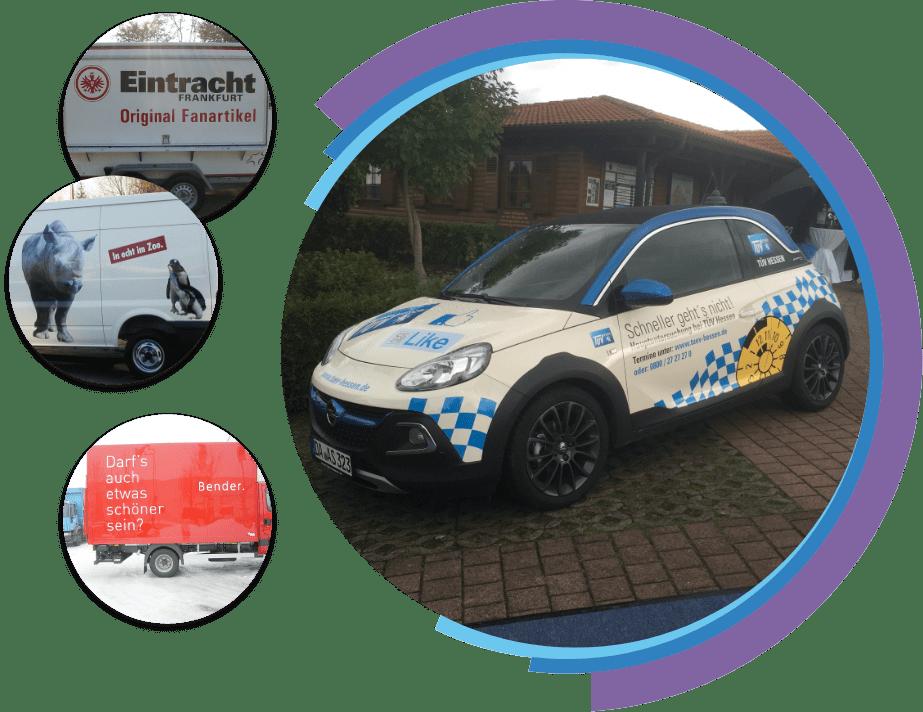 Collage Fahrzeugbeschriftung