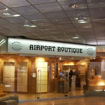 Firmenschild Boutique Flughafen Frankfurt