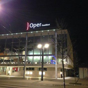 Lichtwerbung Firmenschild Fassade Oper Frankfurt Nacht